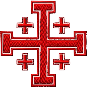 Asclepius Rod Logo - Red Jerusalem Cross